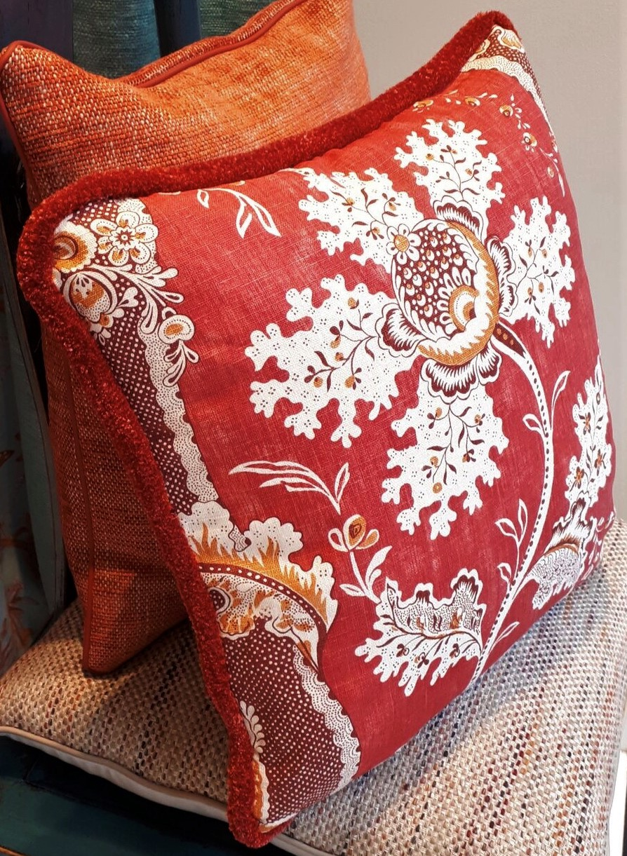Marvic window display using 6212-3 a luxurious floral linen cushion made exclusively for the showroom